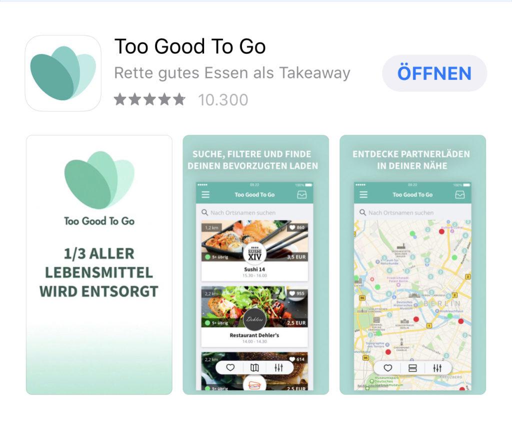 TooGoodToGo Screen aus dem App- Store